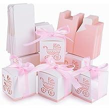 AONER- 50Pcs Cajas de Papel de Bombones Regalos Detalles para Invitados de Boda, Fiesta, Comunion o Bautizo, Cumpleaños de Bebé con Cintas (Rosado)