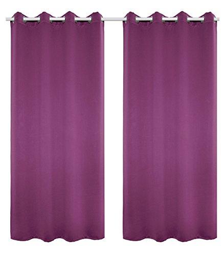 WOLTU VH5866vl-2, 2er Set Gardinen Vorhang Blickdicht mit Ösen, Leichte & weiche Verdunklungsvorhänge für Wohnzimmer Kinderzimmer Schlafzimmer 135x225 cm Violette -