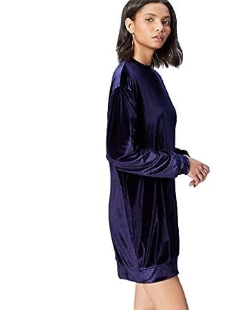 FIND Vestito in Velour con Arricciatura Donna, Blu (Navy), 40 (Taglia Produttore: X-Small)