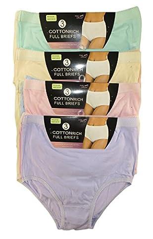 6 Pack Ladies Briefs Maxi, 100% Cotton Full Comfort Fit