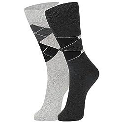 DUKK Men's Grey Crew Length Cotton Lycra Socks (Pack of 2)