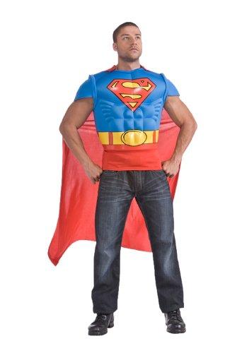 Herren Kostüm Superman Muskel Brust Shirt Karneval Fasching - Kostüm Brust Shirt