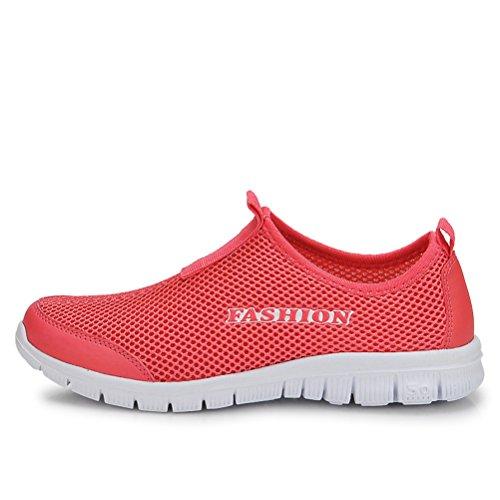 Modische Unisex Erwachsene Sommer Mesh Gitter Atmungsaktive Slip On Einfache Draußen Sportliche Sneakers Rot