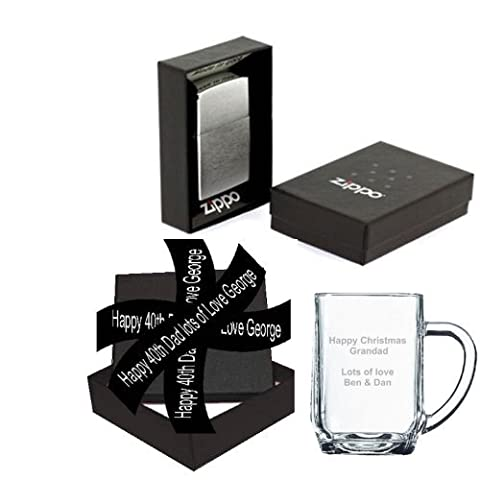 PERSONALISED GENUINE PHOTO ENGRAVED ZIPPO LIGHTER & GLASS TANKARD GIFT SET. A QUILTED GIFT BOX FOR THE LIGHTER INCLUDED AND FINISHED WITH A PERSONALISED RIBBON (your OWN message) by A1 PERSONALISED