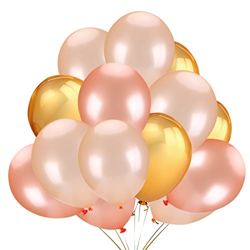 (50 Stücke Latex Luftballons Helium Balloon für Hochzeit Graduation Geburtstag Party Dekoration Lieferungen Baby Dusche Dekorative, Gold & Rose Gold & Champagner Gold Farbe)