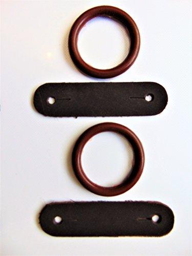 Peacock Safety Ersatzset Durchrutschschutz für Sicherheitssteigbügel, bestehend aus Gummi-Ringen und Leder-Clips, 1Paar