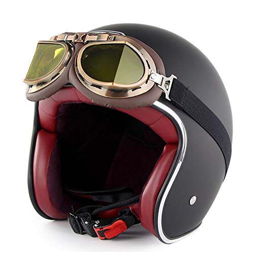 DVE Motorradhelm Harley Retro Sommer Jethelm Dirtbike Skate Helm mit Harley Brille,Matte,XXL(63~64CM)