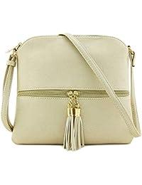 bbcf1ed94a734 Dorical Handtasche Umhängetasche Damen Vintage Quaste Einfarbig Messenger  Tasche Mädchen mit Verstellbarem und…