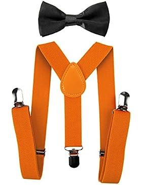 axy Kinder Orange Hosenträger-Y Form mit Fliege- 3 Clips EXTRA STARK
