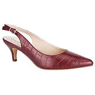 Greatonu Womens Dressy Pumps Wedding Slingback Adujustable Buckle Court Shoes Light Burgundy 7 UK