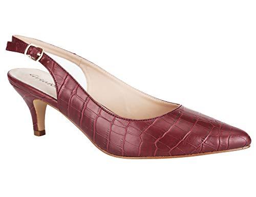 Greatonu Zapatos de Tacón Suedes Cómodos Casuales de Bodas para Mujer Borgoña Tamaño 37 EU