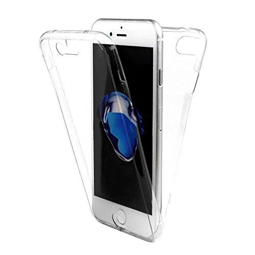 Coquille pour iPhone 6S,Souple Silicone Coque pour iPhone 6,Leeook Cr¨¦atif 360 Degr¨¦ Full Body Protecion Clair Conception Absorption de Choc Bumper et Anti-Scratch Ultra Mince Case Cover de Bumper C Full Body,Clair