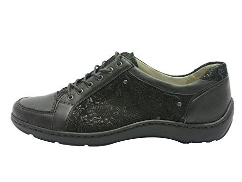 Waldläufer, 496005-400-001, Henni Halbschuh Damen, Schwarz/schwarz Schwarz
