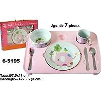 DonRegaloWeb - Vajilla infantil de porcelana compuesto por 7 piezas (3 cubiertos, plato,