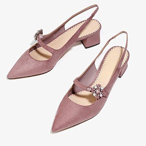 Damen Sandalen Spitz Zehen Slingback Geschlossen Nubuk Leder Blockabsatz Slip on Elegant Büro OL Freizeit Schick Sommerlich Schuhe Pink