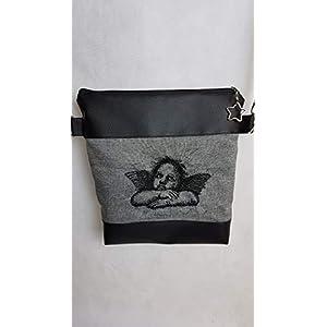 Handtasche Engel Umhängetasche Engel grau schwarz Kunstleder mit Anhänger Tasche Geschenk