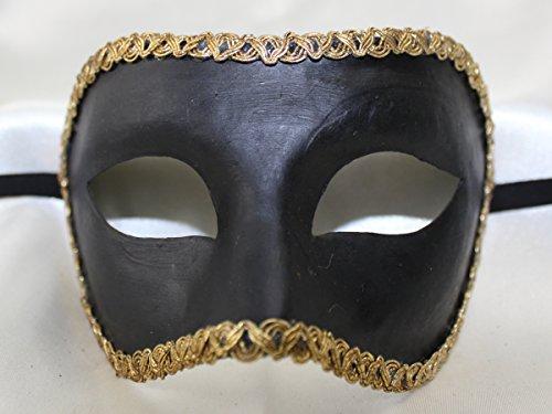 Herren Schwarz handgefertigt Traditionelle COLOMINA Half Face venezianische Masquerade Maske mit Gold geflochten Trim