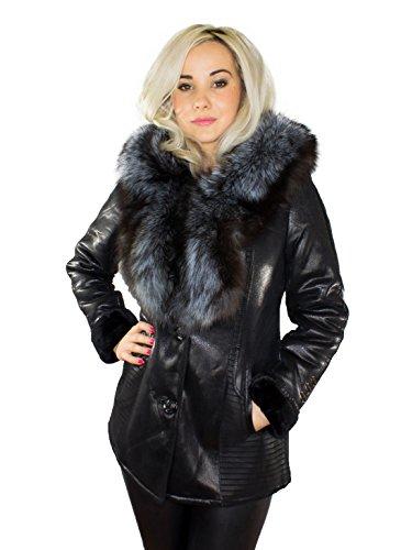 Damen Winterjacke Mantel Jacke XXL Pelzkragen Echtfell Silberfuchs schwarz