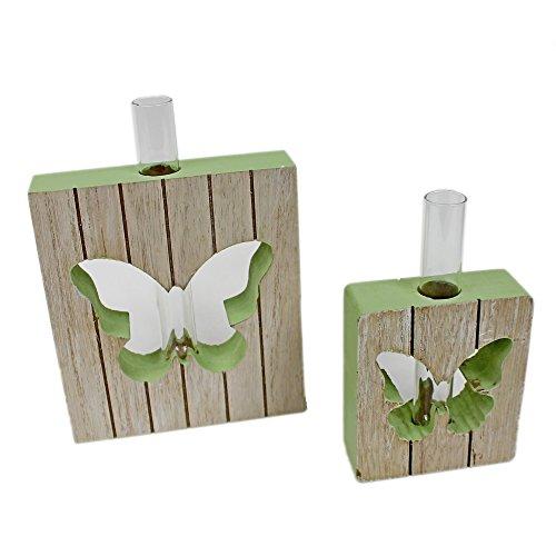 Reagenzglas Vase im Holz-Rahmen ~ Schmetterling KLEIN ~ versch. Farben und Größen