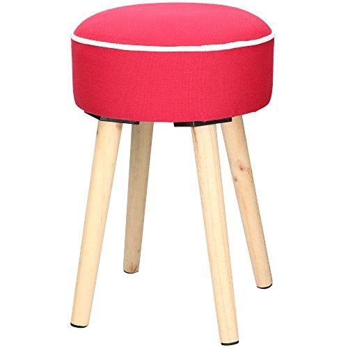 Hocker Sitzhocker Polsterhocker mit Holz-Gestell vier Beine farbiger Bezug Sitzhöhe 44 cm (Farbe Rot)