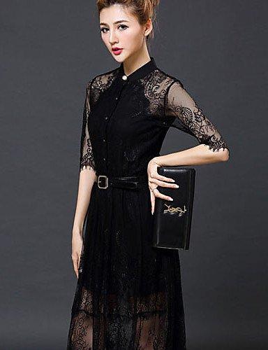 PU&PU Robe Aux femmes Trapèze Vintage / Street Chic,Couleur Pleine Mao Midi Polyester BLACK-2XL