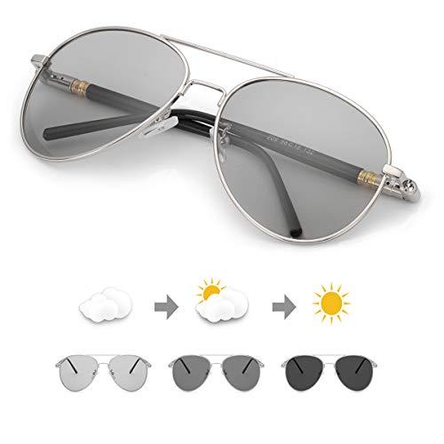 TJUTR Polarisierte Sonnenbrille Herren Photochromatisch Sports für100% UVA UVB Schutz Metallrahmen Leicht (Silber(Klassisch)/Grau)