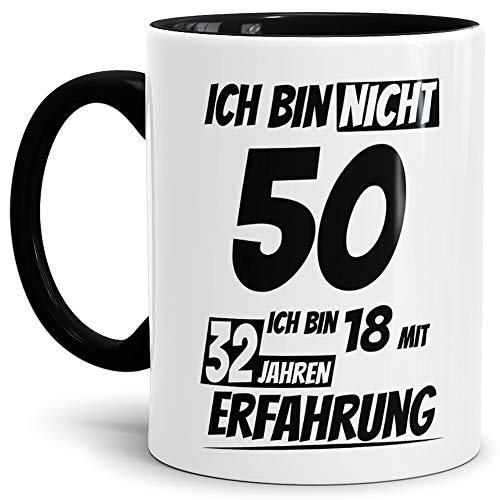 """Geburtstags-Tasse """"Ich bin 50 mit 32 Jahren Erfahrung"""" Innen & Henkel Schwarz / Geburtstags-Geschenk / Geschenkidee / Scherzartikel / Lustig / mit Spruch / Witzig / Spaß / Fun / Kaffeetasse / Mug / Cup / Beste Qualität - 25 Jahre Erfahrung"""