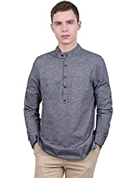 Allegra K Men Grandad Collar Roll Up Sleeves Heathered Henley Shirt