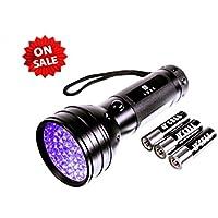 LUXX UV Taschenlampe Schwarzlicht mit 51 LEDs | UV-Licht-Urin-Detektor für Flecken Ihrer Hunde, Katzen und Nagetiere,Prüfgerät für Personalien,Geld,Geocaching | inkl. 3xAA-Batterien