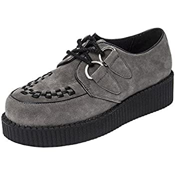 40269663ac02 SHU CRAZY Mens Faux Suede Casual Flat Low Heel Wedge Platform Lace Up Goth  Punk Creepers