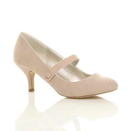 Donna media tacco mary jane lavoro festa elegante scarpe di moda taglia Scamosciata Beige