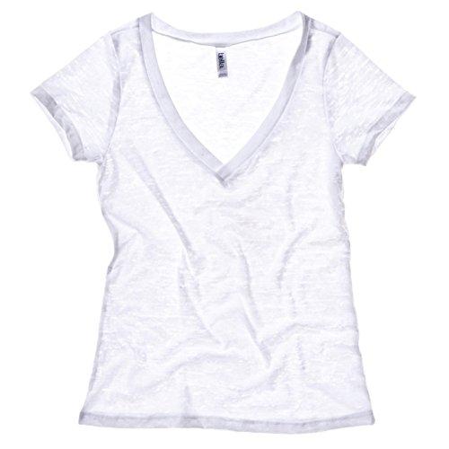 Bella Leinwand Burn-out-V-Neck T-Shirt Weiß