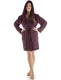 7b0bc5f29f Damen Bademantel mit Kapuze, flauschiger Sherpa-Fleece, kurzer Saunamantel  für Wellness Spa,