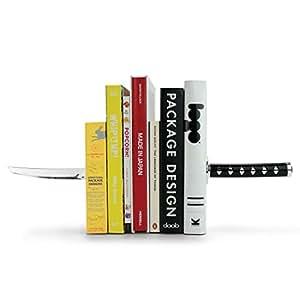 Mustard Fermalibri Bookends, Reggilibri da Mensola in Metallo per Libri, DVD, CD I Cancelleria e prodotti per ufficio I Piedistalli espositivi - Nero Katana