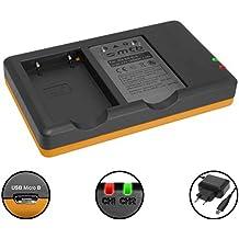 Caricabatteria doppio (Corrente, USB) per Nikon EN-EL5/Coolpix P500, P510, P520, P530 Alimentatore 2A incluso | 2 batterie simultaneamente caricabili