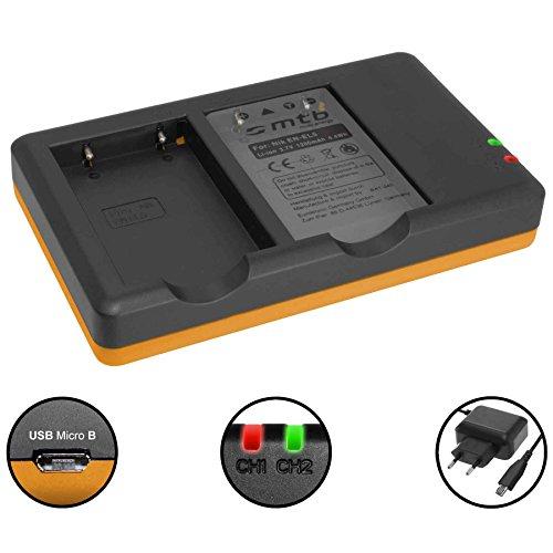 Dual-Ladegerät (Netz, USB) für Nikon EN-EL5 / Coolpix P500, P510, P520, P530 ... inkl. 2A Netzteil (2 Akkus gleichzeitig ladbar)