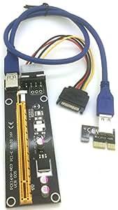 Flexible PCI-E PCI Express 16X to 1X Adapter Converter USB 3.0 Riser Card Cable w/ Molex 4P Power Connector for Bitcoin Mining