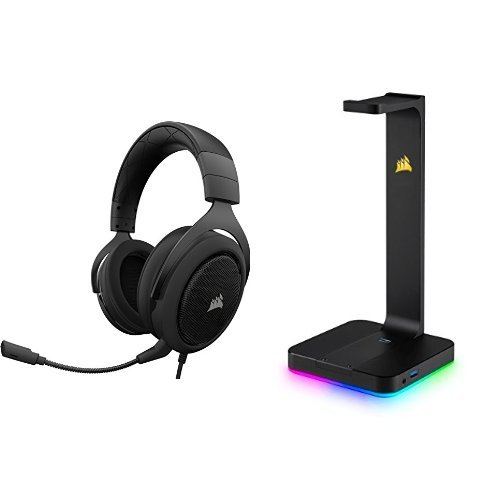 Corsair HS50 Gaming Headset / Stereo Kopfhörer + Premium Kopfhörer-Ständer ST100 (2x USB 3.1, Aluminium, 7.1 Dolby Audio Ausgang) schwarz (Wireless Headset Corsair)