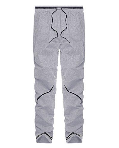 MODCHOK Uomo Pantaloni Lunghi Jogger Chino Cargo Tuta Pantaloni di Sport Casual 2Grigio chiaro