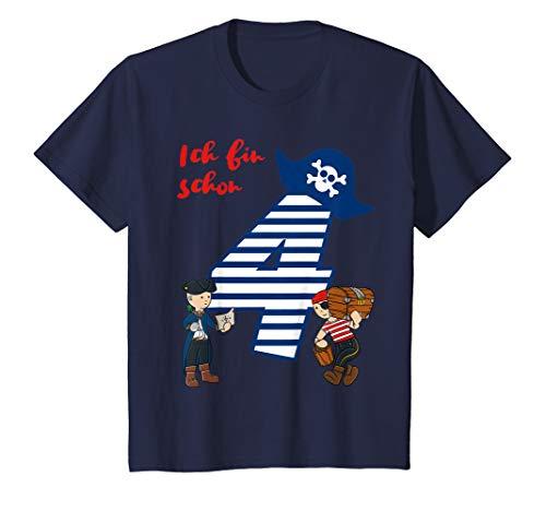 Kinder T-Shirt Geburtstag 4 Jahre Junge Pirat Ich bin schon 4