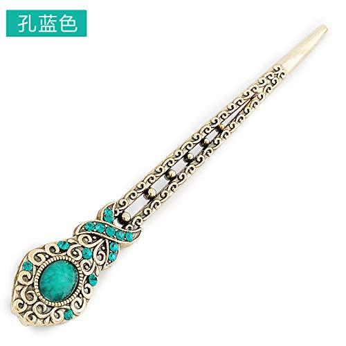 (aimaoer Haarnadel Klassische Ornamente Haarnadel Pin Haarschmuck Kostüm Alte Kopfschmuck Koreanische Gedruckte Haarnadel E019, Loch Blau)