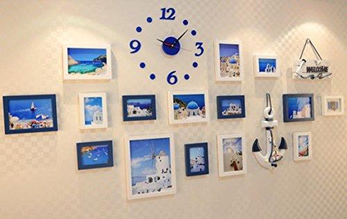 X&L Mediterrane aus massivem Holz Kombination Foto Frame Kombination Continental Ruder Meer Wand Wandbild , blue and white clock - 2