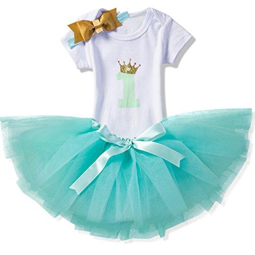 NNJXD Mädchen Newborn 1. Geburtstag 3 Stück Outfits Strampler + Tutu Kleid + Stirnband Größe (1) 1 Jahr Grün