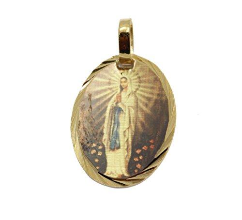 Diamantados of Florida Virgen de Lourdes Medalla-Nuestra señora de Lourdes Medalla Chapado en Oro de 14K Medalla con 18Pulgadas Cadena