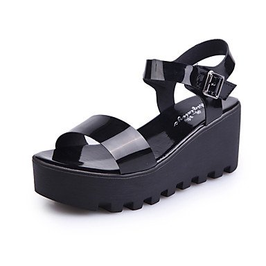 Scarpe Donna FYZS Donne Sandali estate PU comfort all'aperto Walking Creepers Buckle Silver Black US5.5 / EU36 / UK3.5 / CN35