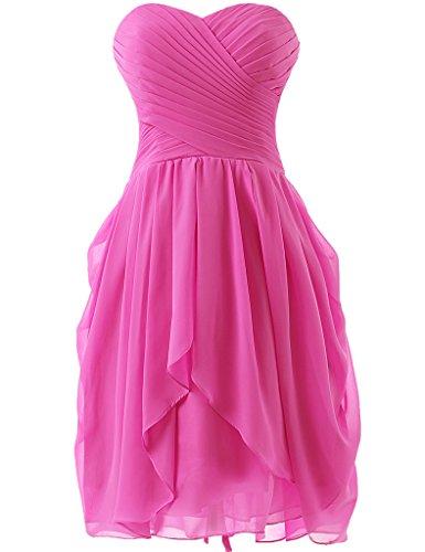 HUINI Strapless Brautjungfer Kleider kurz Chiffon Abendkleid mit Falte besetzt Ballkleid Hot Pink