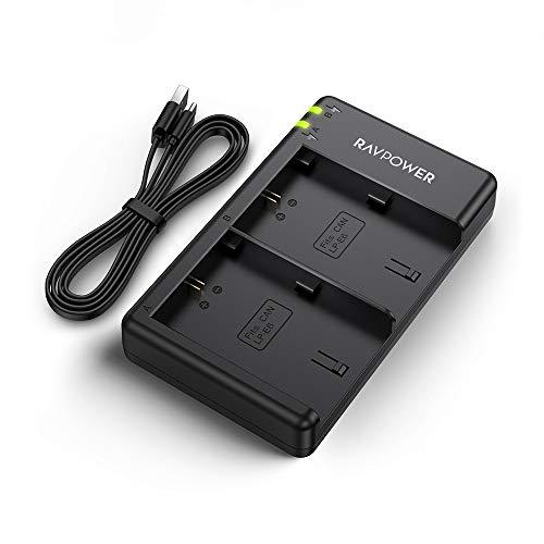 RAVPower LP-E6 Akku Ladegerät Dual USB Charger für Canon Kameras EOS 7D Mark II / 5D Mark IV / 5D Mark III / 70D / 5DS / 5DS R / 5D Mark II / 6D / 7D / 80D / 60D usw.