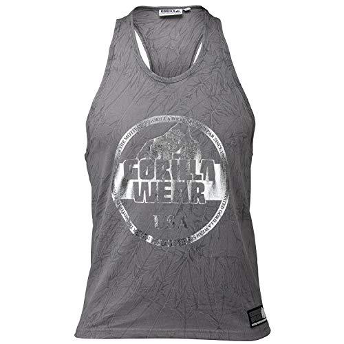 Gorilla Wear Mill Valley Tank Top - Fitness Stringer Herren Bodybuilding Gym Grau XXXL