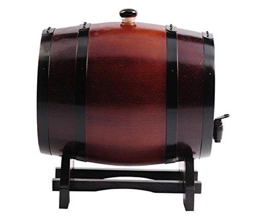 Mkuha Horizontal Holz Weinfass Spender Gebrannte Eiche,Kein Liner, Wine Red, 5L -