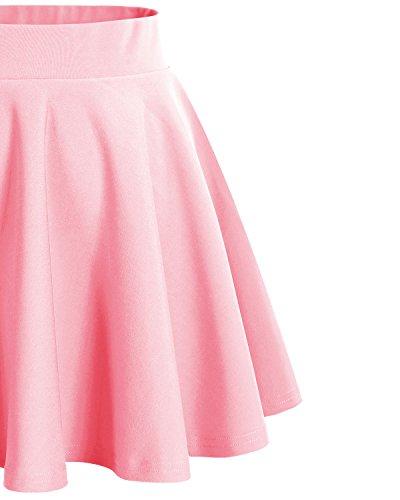 Bridesmay Donna Gonna Vita Alta Casual Solida Colore Mini Gonna Pink